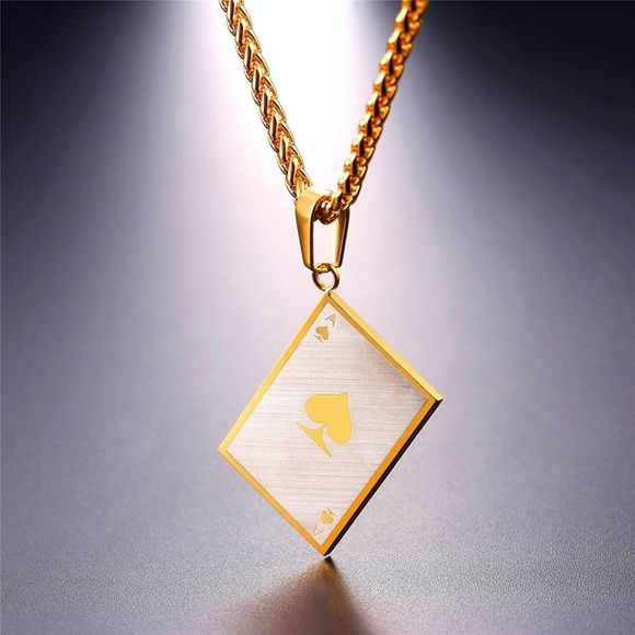 Moda black label accessories mens ace 18k gold plated ace of mens ace 18k gold plated ace of spades necklace aloadofball Image collections